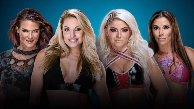 Lita und Trish Stratus treffen bei WWE Evolution auf Alexa Bliss und Mickie James (v.l.)