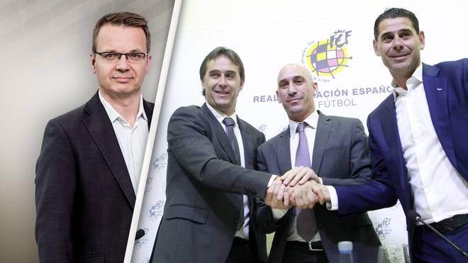 Verbandspräsident Luis Rubiales (M.) ersetzte Julen Lopetegui (l.) durch Fernando Hierro (r.)