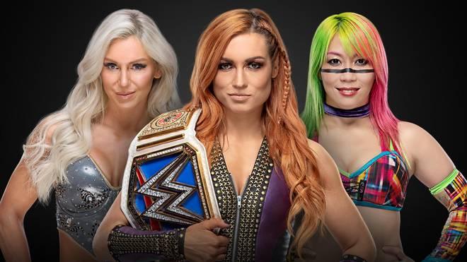 Becky Lynch (M.) trifft bei WWE TLC auf Charlotte Flair (l.) und Asuka