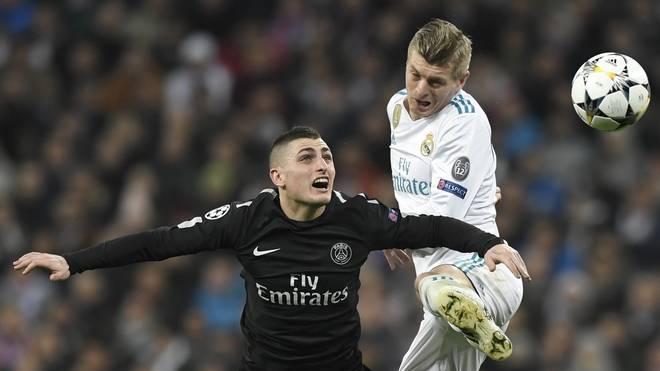 Toni Kroos (r.) will mit Real in Paris einen 3:1-Vorsprung aus dem Hinspiel verteidigen