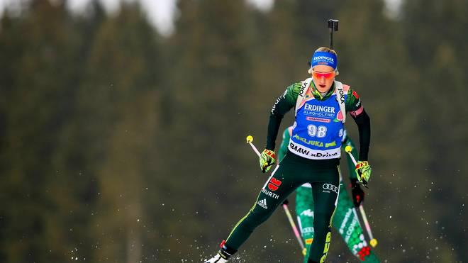 Anna Weidel war die positive deutsche Überraschung beim Biathlon-Sprint in Pokljuka