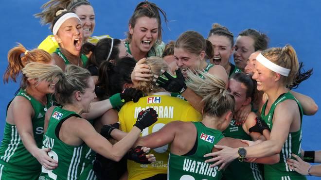 Die irischen Hockey-Damen feierten ausgelassen dem Einzug ins WM-Halbfinale