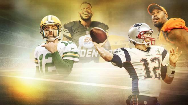 Aaron Rodgers, Antonio Brown, Tom Brady und Von Miller (v.l.) gehören zu den Top-Stars bei Madden NFL 19