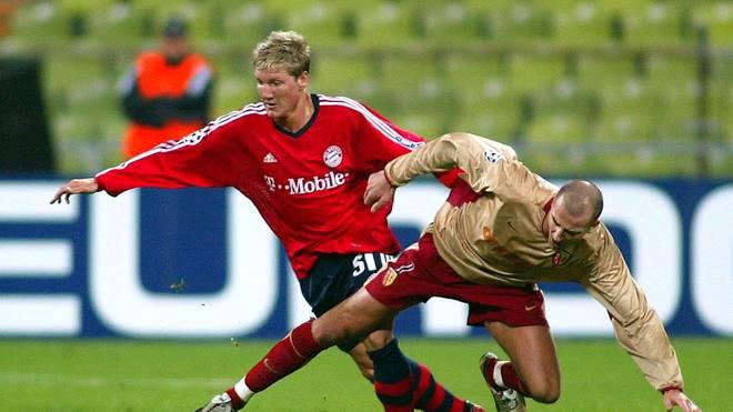 Bastian Schweinsteiger bei seinem Profi-Debüt für den FC Bayern im November 2002 gegen RC Lens