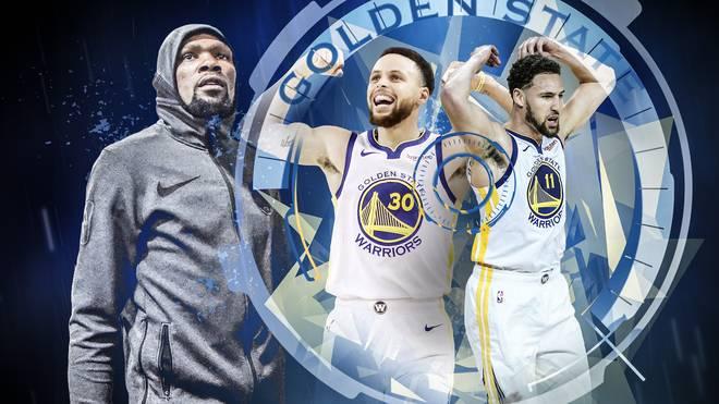 Ohne Kevin Durant (l.) führen Stephen Curry (M.) und Klay Thompson die Golden State Warriors an