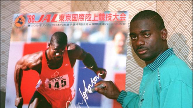 Jamaican-born Canadian Ben Johnson sign