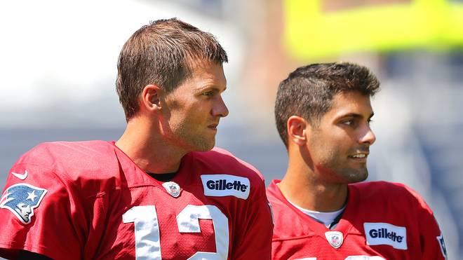 Tom Brady (l.) und Jimmy Garoppolo spielten gemeinsam bei den New England Patriots