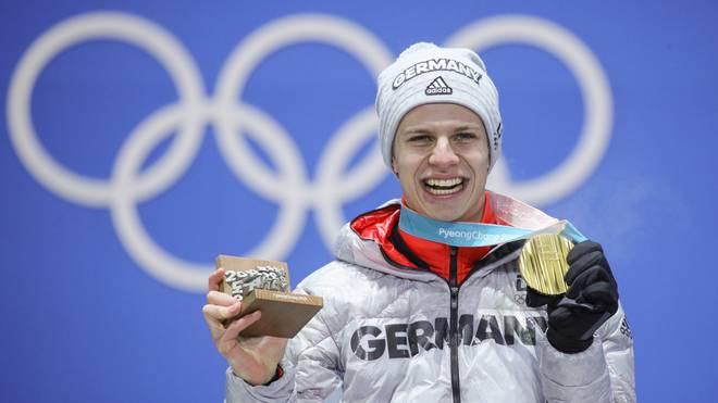Andreas Wellinger gewann Gold von der Normalschanze