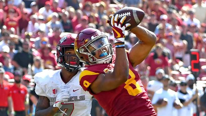 Amon-Ra St. Brown (r.) gelang bei seinem Debüt für die USC Trojans ein Touchdown