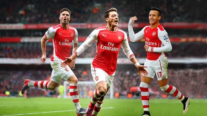Olivier Giroud, Mesut Özil und Alexis Sanchez vom FC Arsenal