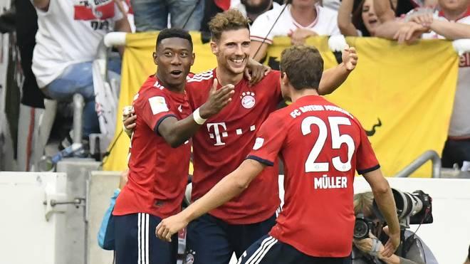 Leon Goretzka jubelt gegen den VfB Stuttgart