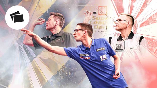 Teilnehmer der BILD Darts Super League: Maik Langendorf, Robert Marijanovic, Stefan Stoyke