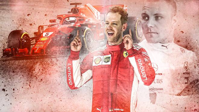 Sebastian Vettel ließ Valtteri Bottas im Ziel knapp hinter sich