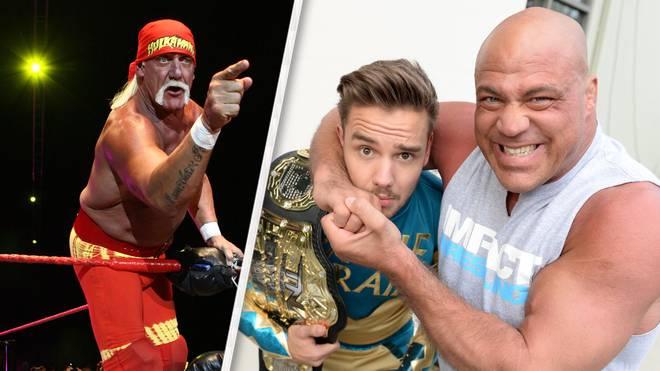 Hulk Hogan und Kurt Angle (r., beim Würgen von Boygroup-Star Liam Payne) stehen offenbar vor einem WWE-Comeback
