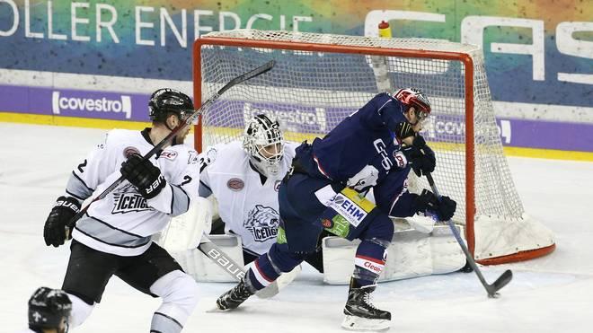 Die Eisbären Berlin (blau) legen in der Serie gegen Nürnberg vor