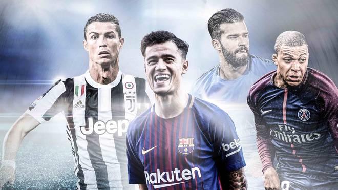 Ronaldo, Coutinho, Alisson und Mbappe (v.l.) gehören zu den teuersten Transfers der Geschichte