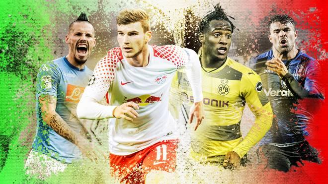 Timo Werner mit RB Leipzig (2.v.l.) und Michy Batshuayi (3.v.l.) mit Dortmund treffen auf knifflige Gegner aus der Serie A