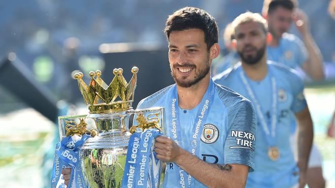 David Silva feiert die Meisterschaft mit Manchester City