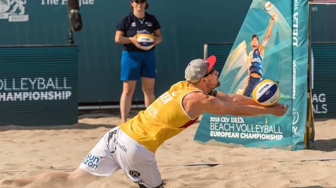 Arne Bergmann spielt mit Yannick Harms bei der Beachvolleyball-EM, Beachvolleyball-EM 2018 mit Bergmann/Harms, Laboureur/Sude,  Borger/Kozuch