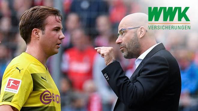 Mario Götze (l.) und Peter Bosz arbeiteten in der Hinrunde 2017/18 zusammen beim BVB
