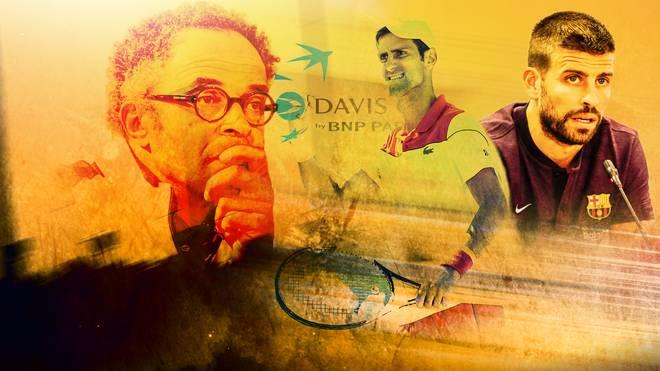 Yannick Noah (l.) befürchtet einen Seelenverlust, Novak Djokovic (M.) ist eher ein Befürworter der Idee des Konsortium Kosmos um Gerard Pique (r.)