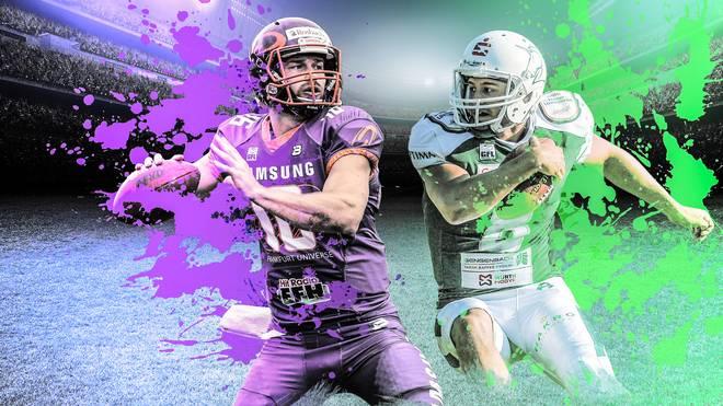 Die Quarterbacks Andrew Elffers (l.) und Marco Ehrenfried stehen sich im German Bowl gegenüber
