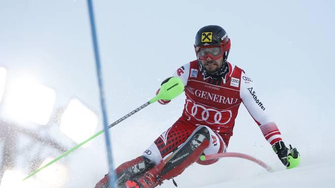 Marcel Hirscher liegt nach dem ersten Durchgang in Führung