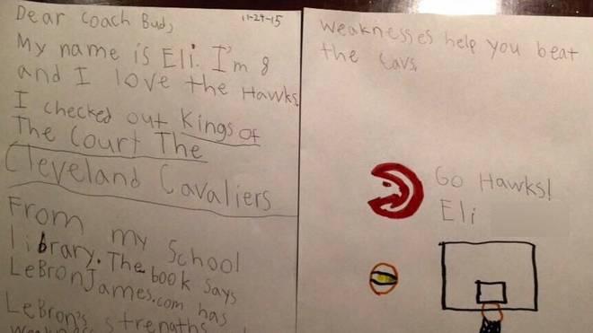 Der Brief des kleinen Eli an die Atlanta Hawks im Original