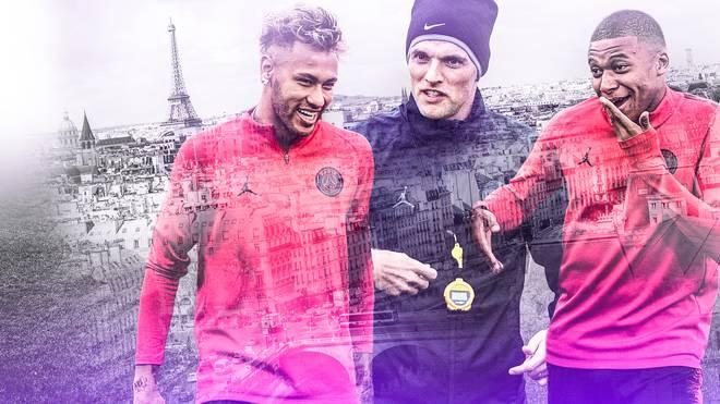 Thomas Tuchel (M.) hat mit Neymar (l.), Mbappe und Co. acht Siege aus acht Ligaspielen geholt