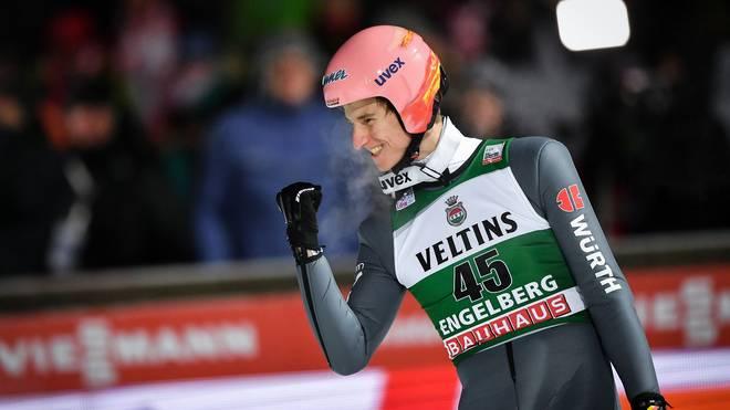 Karl Geiger feierte am Samstag seinen ersten Weltcupsieg In Engelberg feierte Karl Geiger seinen ersten Einzel-Weltcupsieg