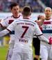 Franck Ribery vom FC Bayern München jubelt mit Robert Lewandowski und Arjen Robben
