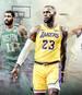 LeBron James (m.) will mit den Lakers angreifen, die Celtics (l.) und die Warriors (r.) wollen ganz vorne mitmischen