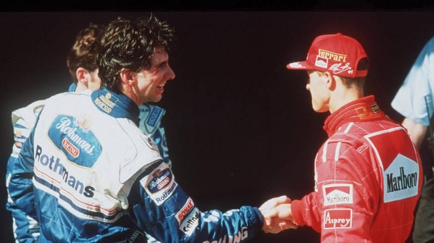 """ERZRIVALE: Michael Schumacher - Ob Jacques Villeneuve, Eddie Irvine, Damon Hill oder David Coulthard: Feinde hatte Schumacher genug im Fahrerfeld. Hill sagte einmal über den siebenmaligen Weltmeister: """"Eine der grundsätzlichen Fragen ist, ob er sich für das interessiert, was andere Leute beschäftigt. Ich denke, Michael hat da einen ziemlich begrenzten Blick"""""""